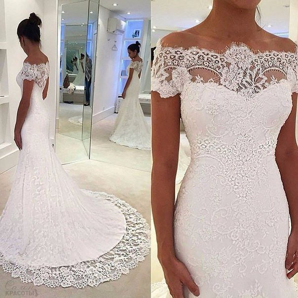 Купить кружевное свадебное платье недорого