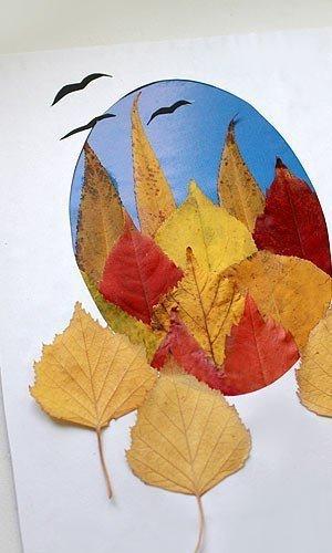 Прикольные, открытка из осенних листьев своими руками