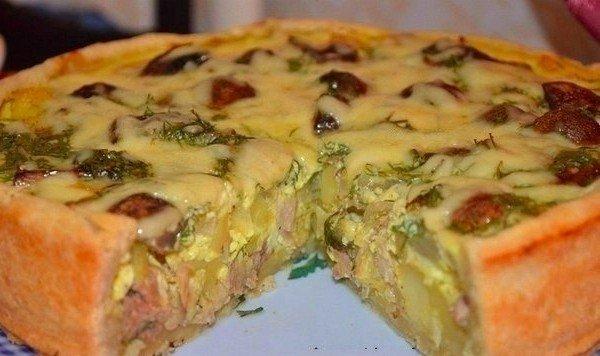 Пирог с грибами и мясом в духовке пошаговый рецепт