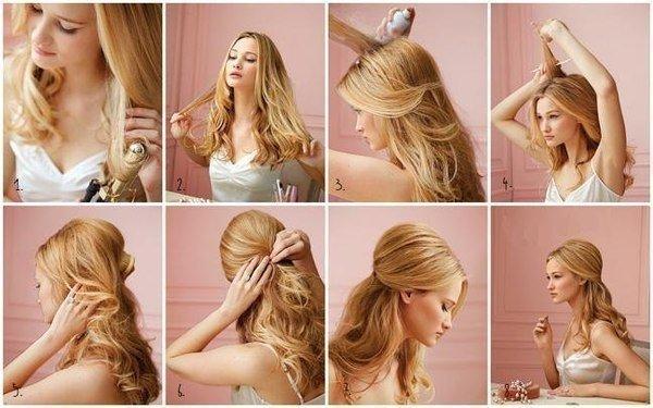 Красивая причёска на средние волосы в домашних условиях