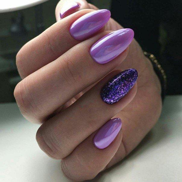 Дизайн ногтей 2018 в сиреневых тонах