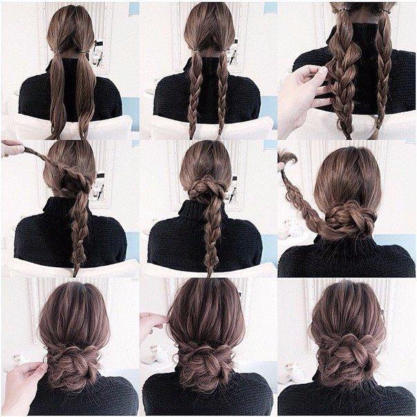 Прически на каждый день для длинных волос своими руками легкие 62
