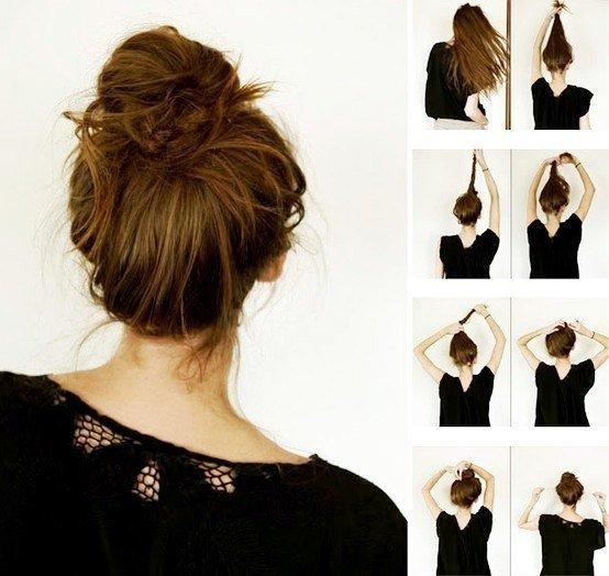Как сделать шишку на короткий волос