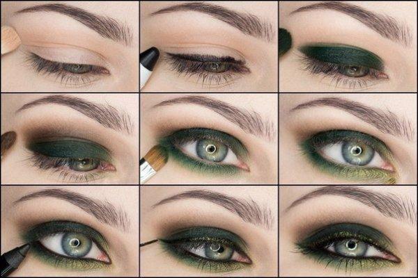 Макияж поэтапно для зеленых глазами