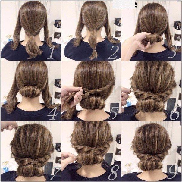 Прическа для волос средней длины в домашних условиях для девочек