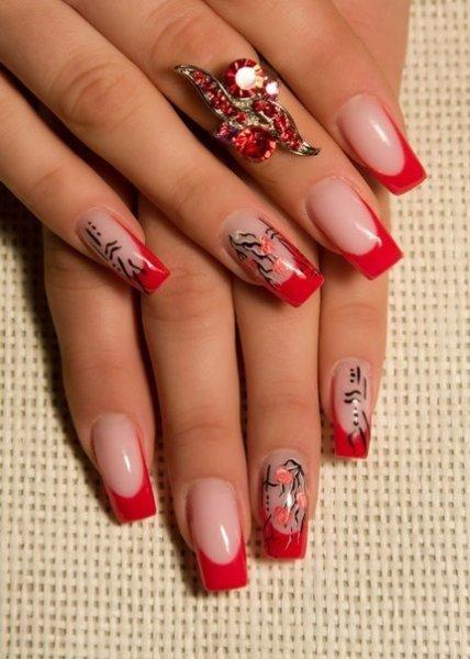 Нарощенные ногти красный френч