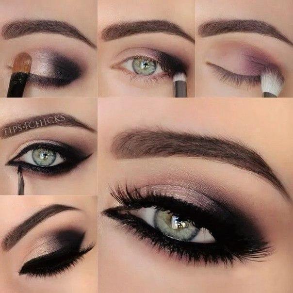Макияж для зеленых глаз с тенями черными