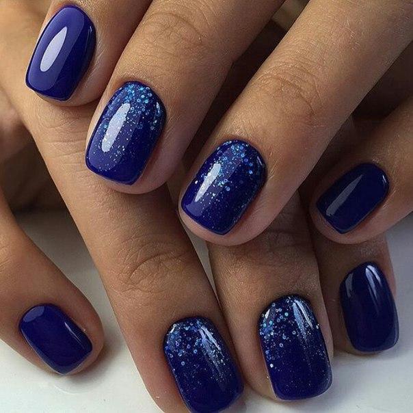 Синий маникюр 2017 гель лак на короткие ногти