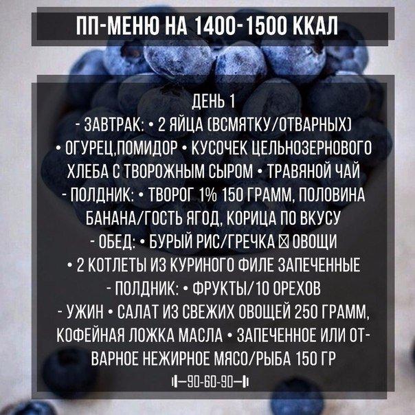 Диета На 1500 Калорий В День Меню